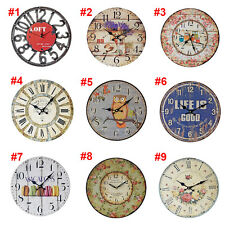 Retro Antique Wooden Vintage Wall Clocks Shabby Chic Rustic Kitchen Home Decor