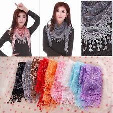 Lace Sheer Floral Print Triangle Veil Church Mantilla Scarf Shawl Wrap Tassel @B