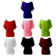 Women Round Neck Short Bat Sleeve Tops T-shirt Loose Solid Color Blouse J@B