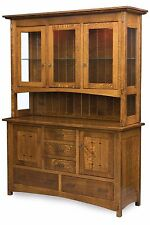 "Amish Crestline Hutch Arts & Crafts Mission China Cabinet Solid Wood 3-Door 62""W"