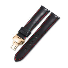 18-22mm Genuine Calf Leather Watch Strap Rose Gold Deployant Band  For Tissot