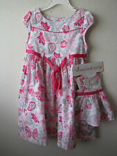 """NWT Matching Dress fits 18"""" Doll Floral pink butterfly 6, 6X"""