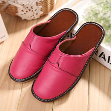 Women House Cow Leather Slippers Closed Toe Soft Home Flat Open Back Slide Shoes