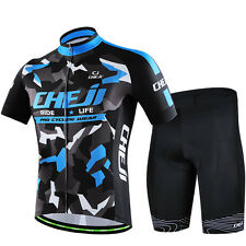 CHEJI Men Team Racing Cycling Mountain Clothing Short Sleeve Jersey Bib Shorts