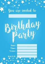 BOYS BLUE BIRTHDAY PARTY INVITATIONS KIDS INVITES CHILDRENS ENVELOPES