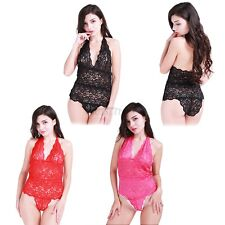 Women Sexy Lace Halter Lingerie One-Piece Jumpsuit Babydoll Teddy Sleepwear