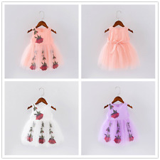 Infant Toddler Baby Girls Summer Dress Sleeveless Rose Lace Wedding Party Dresss