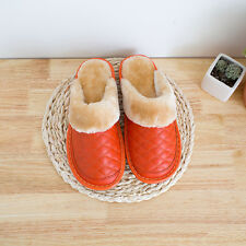 Winter Home Slippers for Women Genuine Cow Leather  Indoor Shoes Warm Lining