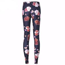 Women Trousers Fashion Black Chocolate Ice Cream Pant Capris Cute Fitness