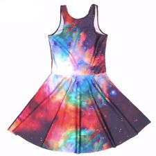 Women Starry Sky Digital Print Sleeveless Beach Dress Vestidos