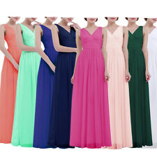 Women's Sleeveless Deep-V Neck Chiffon Long Evening Prom Gown Bridesmaid Dress
