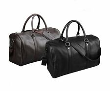 Mens Genuine Leather Luggage Travel Bags Weekend Duffle Bag Handbag Shoulder Bag