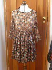 ATMOSPHERE PRIMARK BROWN FLOWERS FLOATY GATHERED LITTLE DRESS 8 10 12 14 CUT OUT