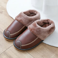 Mens Indoor Slippers PU Leather Closed Toe Warm Lining Fur House Slip On Flats