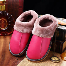 Winter Warm Fuzzy Cow Leather House Slippers for Women Fleece Lined Home Shoes