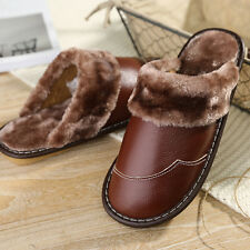 New Mens Warm Home Cow Leather Slippers Faux Fur Lining Plush House Flats Shoes