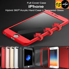 360° Full Body Hybrid Hard Case Cover / Tempered Glass For iPhone 6 6s 7 7 Plus