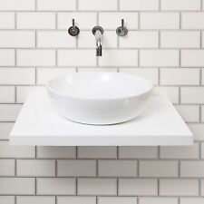 White Gloss Wall Hung Mounted Floating Shelf Counter Top Basin Sink Bottle Trap