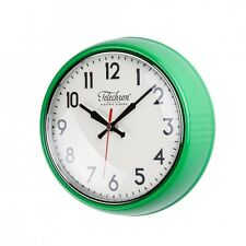 Round Wall Clock Green Kitchen Home Decor Glass Face Second Hand Battery Powered