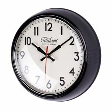 Round Black Wall Clock Kitchen Home Decor Glass Face 12 Hour Battery Powered New