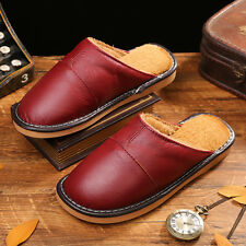 Spring Womens Indoor Cow Leather Slippers Close Toe House Slip On Flats Shoes