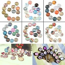 "10/50pcs Flat Back Glass Cabochon 26 Patterns Images 0.47"" Dia Décor DIY Craft"