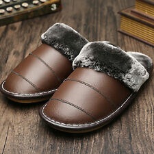 Waterproof Winter Warm Indoor Thick Shoes for Men Genuine Leather Furry Slippers