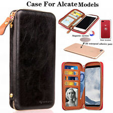 New PU Leather wallet card holder phone zip handbag For Alcate Mobile Phones