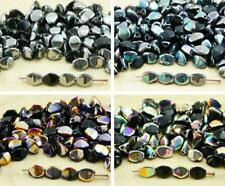 60pcs Black Half Pinch Bicone Faceted Spacer Czech Glass Beads 5mm