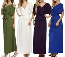 Plus Size Womens Long Sexy Bat Sleeves V-neck Flowy Evening Party Maxi Dress