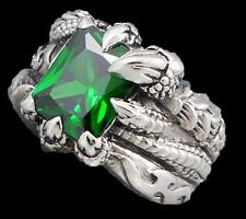 GREEN TOPAZ DRAGON CLAW FLAME FIRE WARRIOR 925 STERLING SOLID SILVER MENS RING