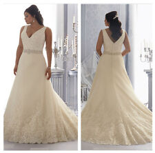 2017 New Plus Size White / Ivory V-neck Lace Wedding Dress Stock Size UK18--UK30