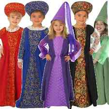 Childs Girls Medieval Tudor Princess Queen Book Day Fancy Dress Costume Outfit