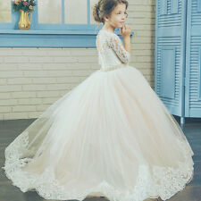 Lace Crystal Sash Ball Gown Flower Girl Dress for Kids Bridesmaid Wedding Party