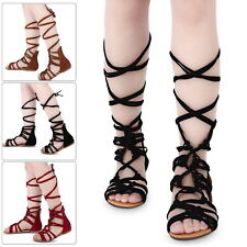 Women Ladies Strappy Gladiator Cut Out Sandal Knee High Boot Flat Summer Shoes H
