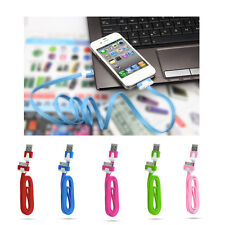 3Ft Flat Noodle USB Charger Sync Data Cable Cord for Apple iPhone 4 4S 4G