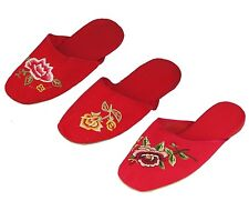 Handmade Embroidered Floral Chinese Women's Cotton Slippers Red New