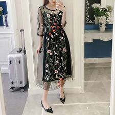 Elegant Womens Embroidery Floral Two Pieces Tulle Ladies Prom Evening Dress Plus