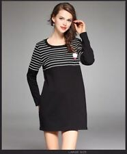 Women Long Sleeve Casual Striped Round Neck Dress