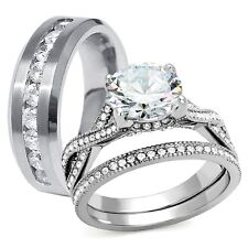 His & Hers Stainless Steel CZ Bridal Engagement Wedding Rings Set Free Shipping
