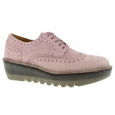 Fly London Jane Pink Womens Brogue Wedge Lace up Shoes New