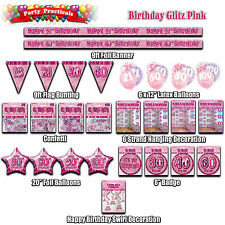 BIRTHDAY PARTY DECORATIONS Pink glitz banners bunting balloons confetti strands