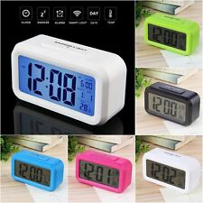 LED Digital Electronic Alarm Clock Backlight Time With Calendar + Thermometer BS