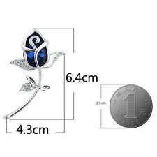 Rose Flower Brooches Alloy Crystal Brooch Clothing 1Pcs Gift Rhinestone