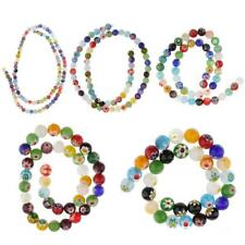 Mix Color Millefiori Flower Lampwork Glass Round Bead Loose Beads 4/6/8/10/12mm
