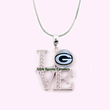 NFL Green Bay Packers 925 Sterling Silver Team Logo Love Necklace W/Rhinestones