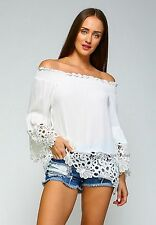 VELZERA S Ivory Lace Hippie Tunic Top New Gypsy Bohemian Off-Shoulder Blouse