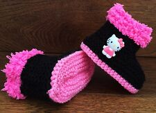 Baby Girl Goth Emo Punk Hand Knitted Booties/Boots Hello Kitty Black Pink 0-12M