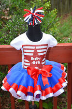 4th of July Glitter shirt Ribbon Trim Tutu and Firecracker bow (Red/White/Blue)