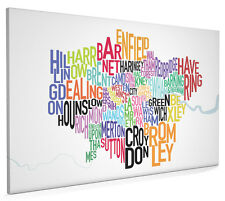London Boroughs Typography Map Box Canvas and Poster Print (129)